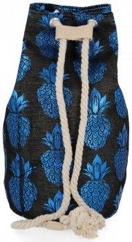 Módní Dámské Batohy vzor v ananasu Černý a modrý