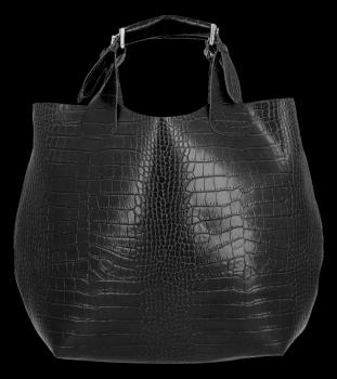 Kožená Kabelka Vittoria Gotti Exkluzivní Shopper s motivem aligátora černá