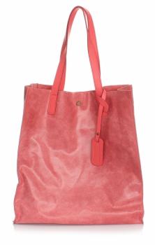 Kožená kabelka Shopper Bags kosmetickou kapsičkou malinová
