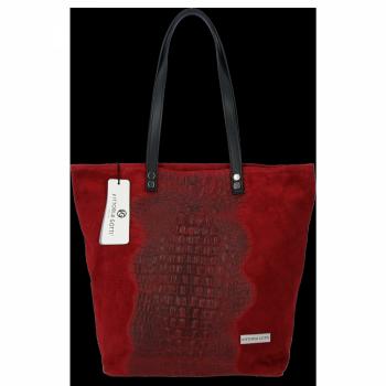 Kožené Dámské Kabelky Shopper s motivem aligátora Vittoria Gotti Bordová
