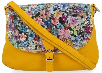 Vittoria Gotti Módní Kožená Kabelka Listonoška Made in Italy květiny Žlutá