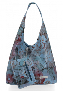 Módní Kožená Kabelka Shopperbag Vittoria Gotti květinový vzor Jeans
