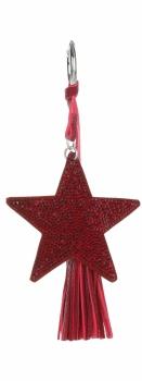 Dvoustranný Přívěšek ke kabelce Stars se zirkony a silným střapcem červená