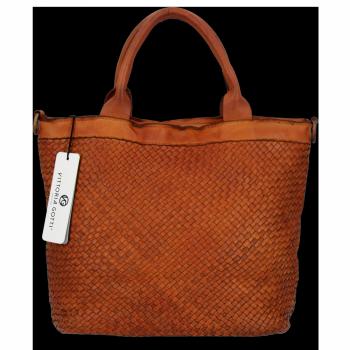 Vittoria Gotti Vintage Shopper Kožená Kabelka Premium Zrzavá