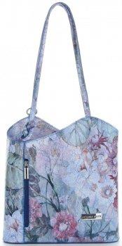 Módní Kožená Kabelka Vittoria Gotti Made in Italy květinový vzor Modrá