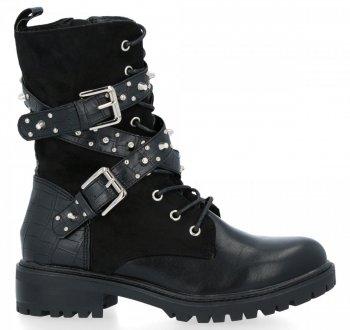 Černé kotníkové boty s přezkami Holly
