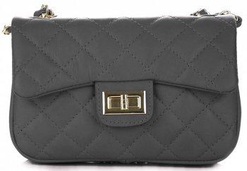 kožená kabelka listonoška Genuine Leather Šedá