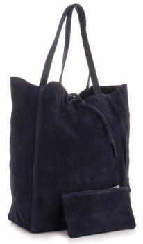 Kožené kabelky ShopperBag Tmavě modrá