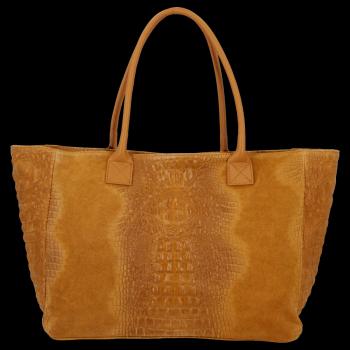 Kožená kabelka kufřík motiv aligátora Světle Zrzavá