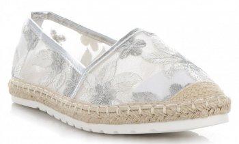 Modní Dámské Espadrilky vzor v květech Ideal Shoes Stříbrné