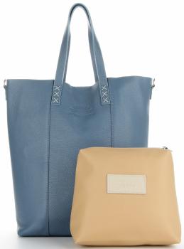 Vittoria Gotti Kožená Kabelka Shopper Made in Italy Modrá