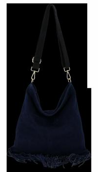 Módní Kožená Kabelka Listonoška s třásněmi Vittoria Gotti Tmavě Modrá