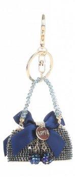 Přívěšek ke kabelce  Elegantní kabelka s mašličkou a zirkony modrá