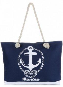 Univerzální Plážová dámská kabelka XXL Marine tmavě modrá