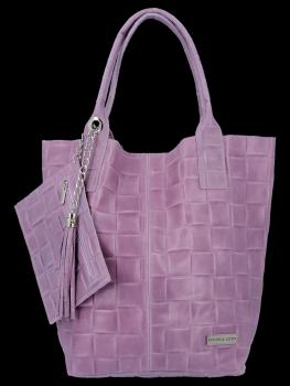 Módní Kožené Dámské Kabelky Shopper Bag XL Vittoria Gotti Vřesová