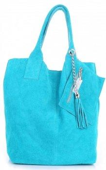 Kožené kabelky Shopperbag přírodní semiš tyrkysové