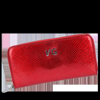 Luxusní Dámská Kožená Peněženka s motivem aligátora Vittoria Gotti Made in Italy Červená