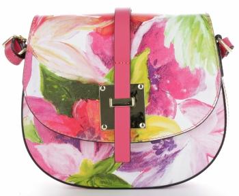 Kožená Kabelka Listonoška Vittoria Gotti Made in Italy květiny Malovaná Multicolor Fuchisová