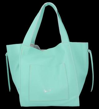 Vittoria Gotti Italské Kožené Dámské Kabelky Shopper Bag Mátová