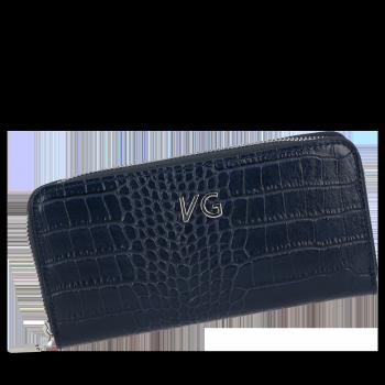 Vittoria Gotti Elegantní Dámská Kožená Peněženka s motivem aligátora Tmavě modrá