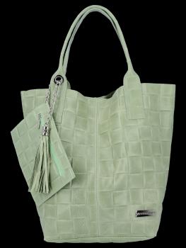Módní Kožené Dámské Kabelky Shopper Bag XL Vittoria Gotti Světle Zelená