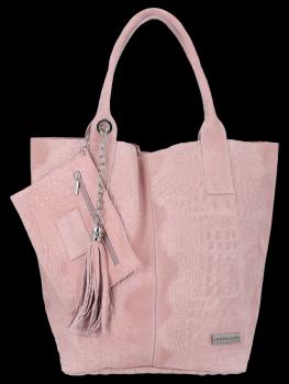 Italské Kožené Dámské Kabelky Shopper Bag Vittoria Gotti Pudrově Růžová