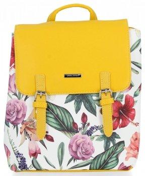 Módní Batůžky David Jones květiny vzor Žlutý