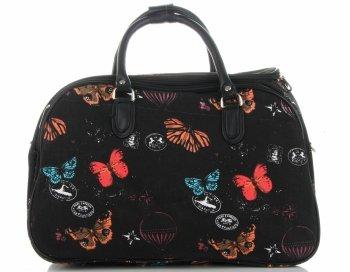 Průměrná cestovní taška kufřík Or&Mi vzor v motýlech Multicolor - černá