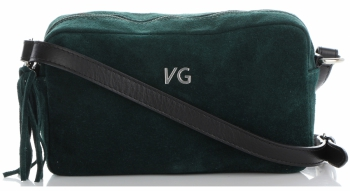 Vittoria Gotti Made in Italy Kožená Kabelka Listonoška Lahvově Zelená