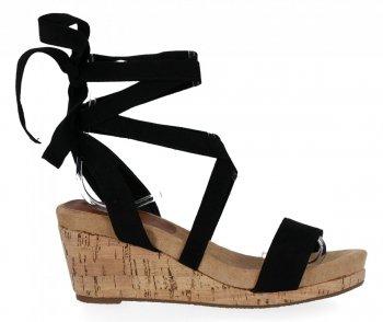 Lady Glory Černé dámské klínové sandály