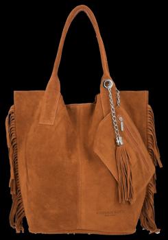 Módní Italské Kožené Kabelky Shopper Bag Boho Style Vittoria Gotti Zrzavá