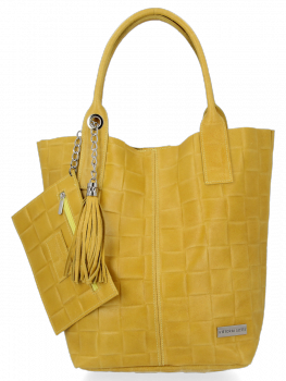 Módní Kožené Dámské Kabelky Shopper Bag XL Vittoria Gotti Žlutá