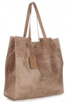 Kožená kabelka Shopper Bags kosmetickou kapsičkou Zemitá