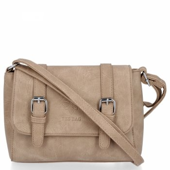 BEE BAG Dámská Kabelka Listonoška Vintage Bag Tmavě Béžová