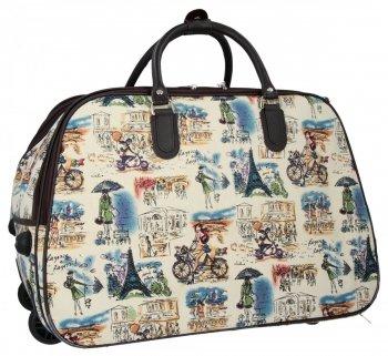 Cestovní taška na kolečkách s výsuvnou rukojetí Or&Mi Parisian Style Multicolor Béžová