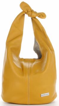 Vittoria Gotti Made in Italy Kožená Kabelka Módní Shopper XL Žlutá