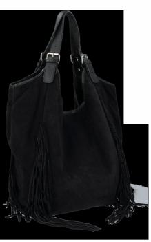 Módní Italské Kožené Dámské Kabelky Shopper Bag Boho Style Černá