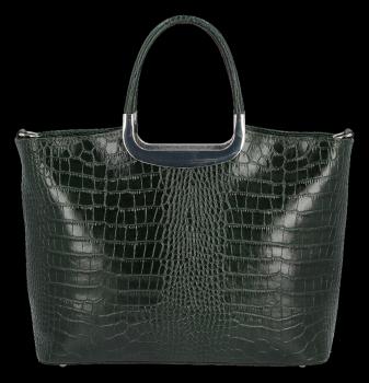 Elegantní Kožená Kabelka Kufřík s motivem aligátora Vittoria Gotti Made in Italy Lahvově Zelená