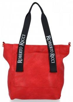 Módní Dámské Kabelky Shopper XL Roberto Ricci Červená