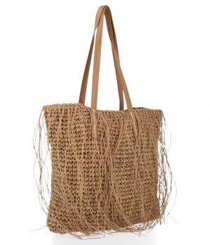 Ratanové Dámské Kabelky Shopper Bag David Jones Tmavě Béžová