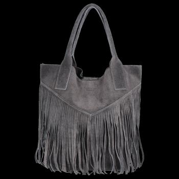 Kožené Dámské Kabelky Shopper Boho Style Vittoria Gotti Tmavě šedá