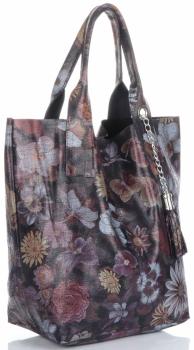 VITTORIA GOTTI Made in Italy Módní Kožená kabelka vzor v květech Shopperbag multicolor - Tmavě modrá