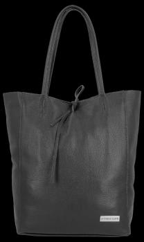 Kožené Dámské Kabelky Vittoria Gotti ShopperBag XL černá