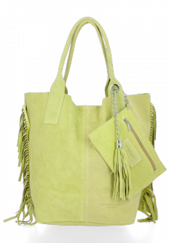 Módní Italské Kožené Kabelky Shopper Bag Boho Style Vittoria Gotti Limetková