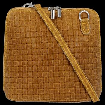 Malé kožené kabelky listonošky Genuine Leather Hořčičná