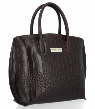 Elegantní Kožená Kabelka Kufřík s motivem aligátora Vittoria Gotti Čokoládová