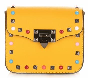 Módní Kožená kabelka listonoška Žlutá