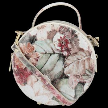 Kulatá Kožená Kabelka Listonoška s květinovým vzorem Vittoria Gotti Béžová