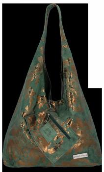 Módní Kožené Kabelky XL květinový motiv Vittoria Gotti Shopper s pouzdrem Lahvově Zelená