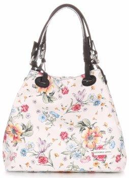 Vittoria Gotti Univerzální kožená italská kabelka vzor v květech Bílá